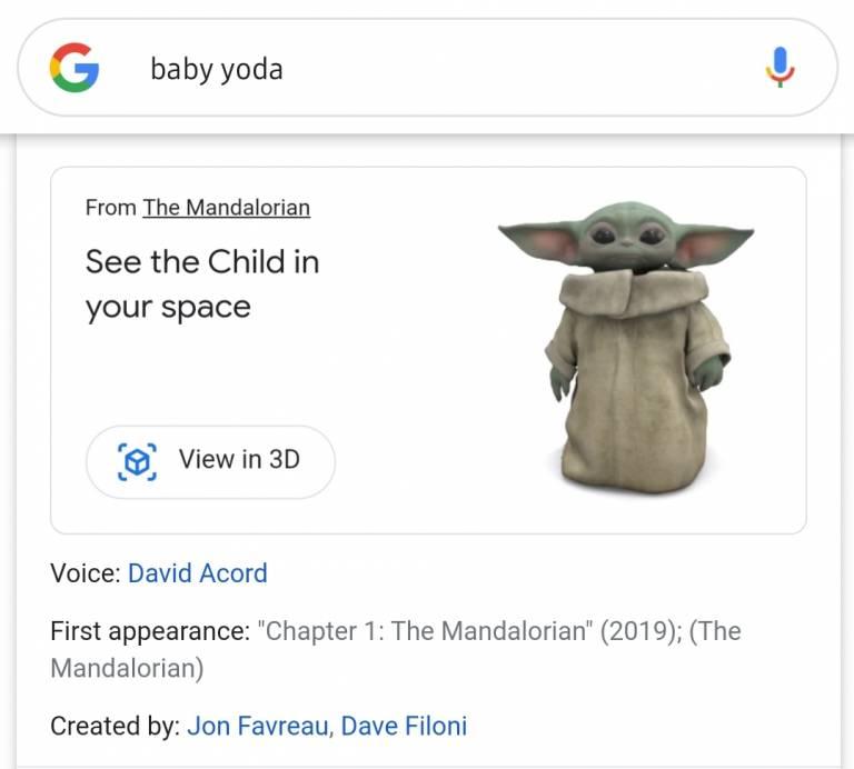 Cómo activar Baby Yoda 3D en Google