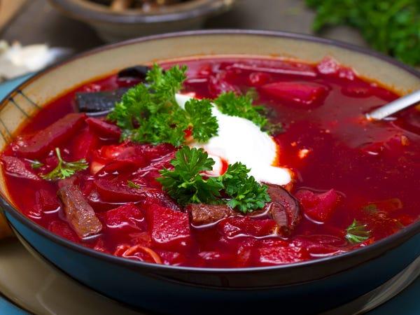 Borscht sopa de Ucrania platillo típico